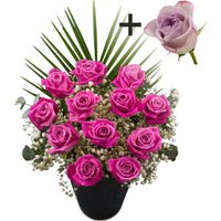 A single Lilac Rose surrounded by 11 Pink Roses