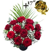 A single 17Inch Gold Dipped Rose surrounded by 11 Deep Red Naomi Roses