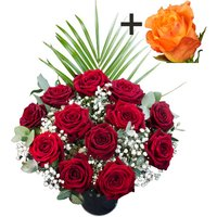 A single Orange Rose surrounded by 11 Deep Red Naomi Roses