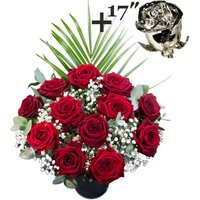 A single 17Inch Platinum Dipped Rose surrounded by 11 Deep Red Naomi Roses