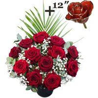 A single 12Inch Gold Trimmed Red Rose surrounded by 11 Deep Red Naomi Roses