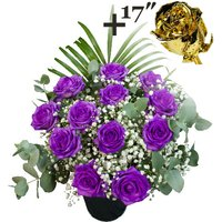 A single 17Inch Gold Dipped Rose surrounded by 11 Purple Roses