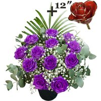 A single 12Inch Gold Trimmed Red Rose surrounded by 11 Purple Roses