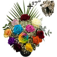 A single 17Inch Silver Dipped Rose surrounded by 11 Mixed Roses
