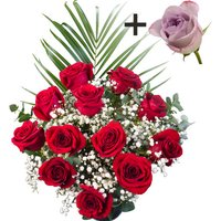 A single Lilac Rose surrounded by 11 Bright Red Freedom Roses