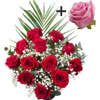 A single Pink Rose surrounded by 11 Bright Red Freedom Roses