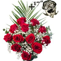 A single 17Inch Platinum Dipped Rose surrounded by 11 Bright Red Freedom Roses