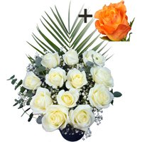 A single Orange Rose surrounded by 11 White Roses