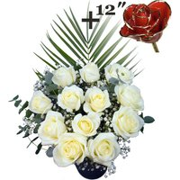 A single 12Inch Gold Trimmed Red Rose surrounded by 11 White Roses