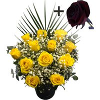 A single Black Rose surrounded by 11 Yellow Roses