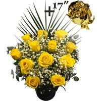 A single 17Inch Gold Dipped Rose surrounded by 11 Yellow Roses