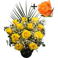 A single Orange Rose surrounded by 11 Yellow Roses