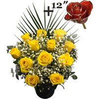 A single 12Inch Gold Trimmed Red Rose surrounded by 11 Yellow Roses