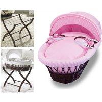 Izziwotnot Dark Wicker Moses Basket-Pretty Pink Gift + Dark Stand!