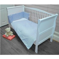 Kiddies Kingdom Deluxe Polka Cotbed Bedding Set-Blue Dot