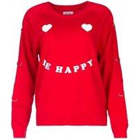 Deze rode trui van zoã« karssen geeft je outfit een vrolijke look. de le happy tekst en hartjes ogen geven je ...