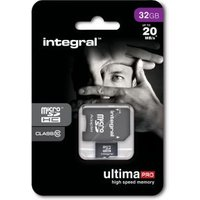 Geheugenkaart Integral Micro SDHC class 10 + adapter 32Gb zw
