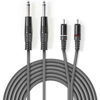 Stereo audiokabel | 2x 6,35 mm male 2x RCA male | 1,5 m | Grijs