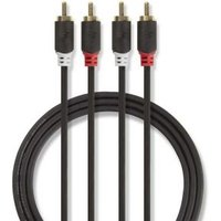 Stereo audiokabel   2x RCA male 2x RCA male   1,0 m   Antraciet