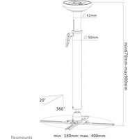 Newstar Beamer ceiling mount 670-900 mm (NM-BC75BLACK)