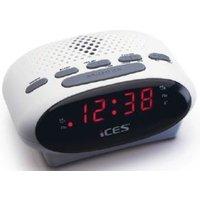 ICES ICR-210 white FM Wekkerradio Wit