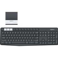 Logitech K375s RF Wireless + Bluetooth QWERTZ Duits Grafiet, Wit toetsenbord
