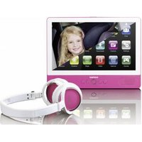 Lenco TDV-900 pink Draagbare DVD-speler 22.86 cm 9 inch Werkt op een accu, incl. 12 V auto-aansluitk