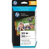HP 303 Photo Value Pack 2 zwart, driekleur op verfbasis printcartridge-papierpakket (Z4B62EE#301)