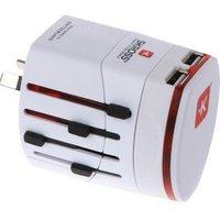 Wereldreisadapter 2-polig met dubbele USB-oplader wit