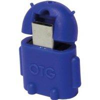 LogiLink USB 2.0 Adapter [1x USB 2.0 stekker micro-B 1x USB 2.0 bus A] Blauw Met OTG-functie