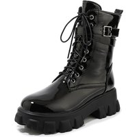 women combat boots flatform lace up ankle boots round toe buckle