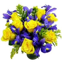 Sunny Rose and Iris Bouquet