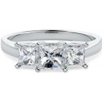 A breathtaking Princess Cut three stone diamond ring in 18ct white gold - Purely Diamonds Gifts