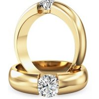 A beautiful Round Brilliant Cut solitaire diamond ring in 18ct yellow gold - Purely Diamonds Gifts