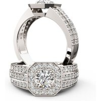 A magnificent Round Brilliant Cut cluster style diamond ring in platinum (In stock)