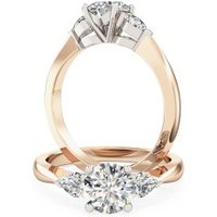 A beautiful Round Brilliant Cut diamond ring with Pear shoulder stones in 18ct rose & white gold - Beautiful Gifts