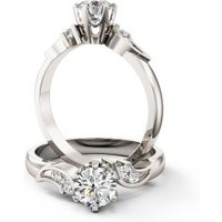 An elegant Round Brilliant Cut diamond ring with shoulder stones in platinum - Elegant Gifts