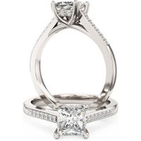 An elegant Princess Cut diamond ring with shoulder stones in 18ct white gold - Elegant Gifts