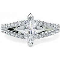 A stunning split band Marquise Cut diamond ring with shoulder stones in platinum - Band Gifts