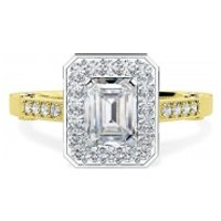 A beautiful Emerald Cut cluster style diamond ring in 18ct yellow & white gold - Style Gifts
