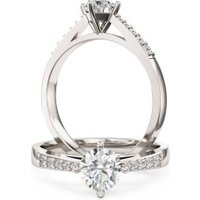 An elegant Round Brilliant Cut diamond ring with shoulder stones in 18ct white gold - Elegant Gifts