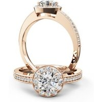 A stunning Round Brilliant Cut halo style diamond ring in 18ct rose gold - Style Gifts