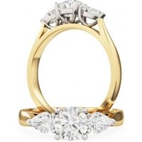 An elegant Round Brilliant Cut diamond ring with Pear shoulder stones in 18ct yellow & white gold - Elegant Gifts