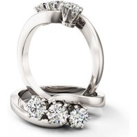 A unique Round Brilliant Cut three stone diamond ring in platinum (In stock) - Unique Gifts