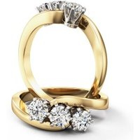 A unique Round Brilliant Cut three stone diamond ring in 18ct yellow & white gold (In stock) - Unique Gifts