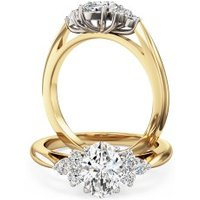 A classic Oval Cut diamond ring with shoulder stones in 18ct yellow & white gold - Diamond Gifts