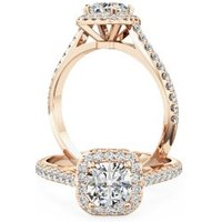A stunning Cushion Cut halo style diamond ring with shoulder stones in 18ct rose gold - Cushion Gifts