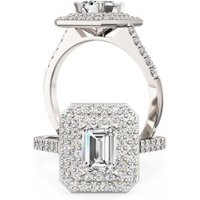 A stunning Emerald cut diamond double halo cluster set in platinum (In stock) - Purely Diamonds Gifts