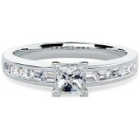 An Elegant Princess Cut Diamond Ring With Baguette Cut Diamond Shoulder Stones In 18ct White Gold
