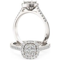 A luxurious cushion shaped halo diamond ring with shoulder stones in 18ct white gold - Cushion Gifts